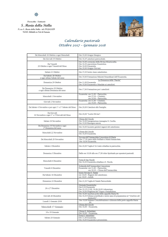 Calendario pastorale Ottobre-Gennaio