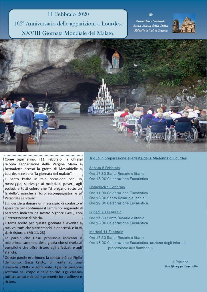 Locandina Madonna di Lourdes 2020