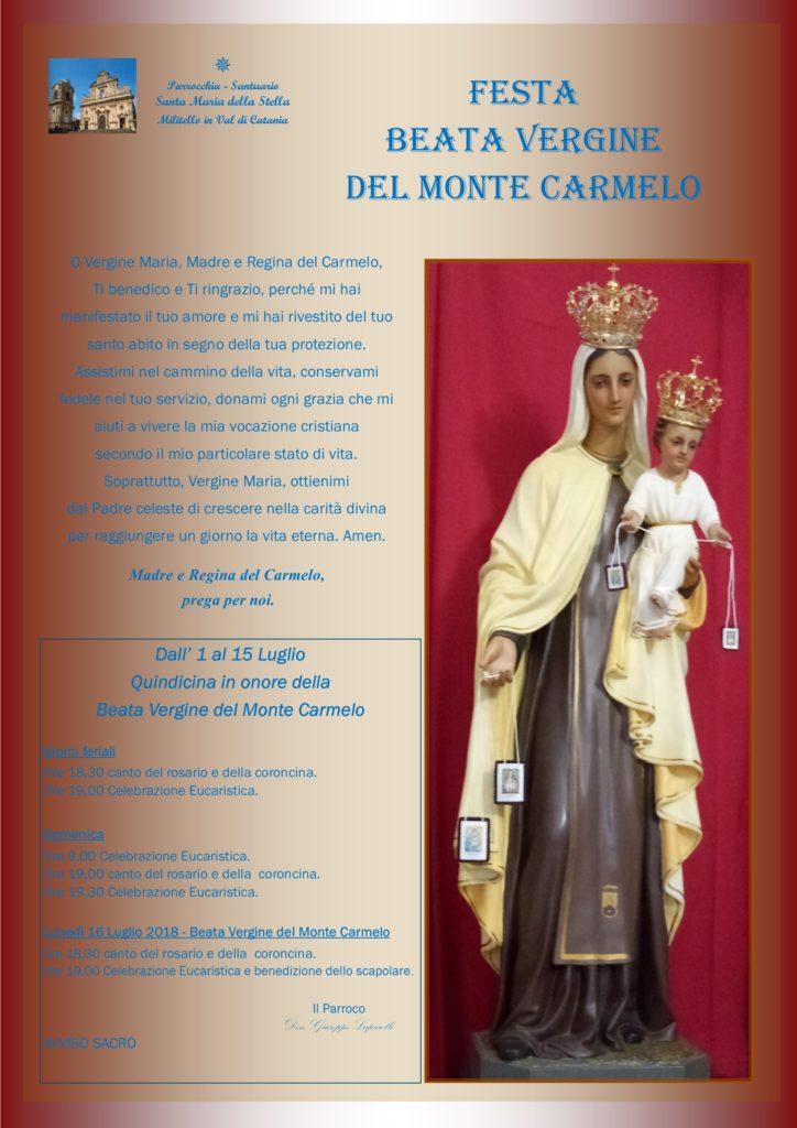 Locandina Madonna del Carmelo