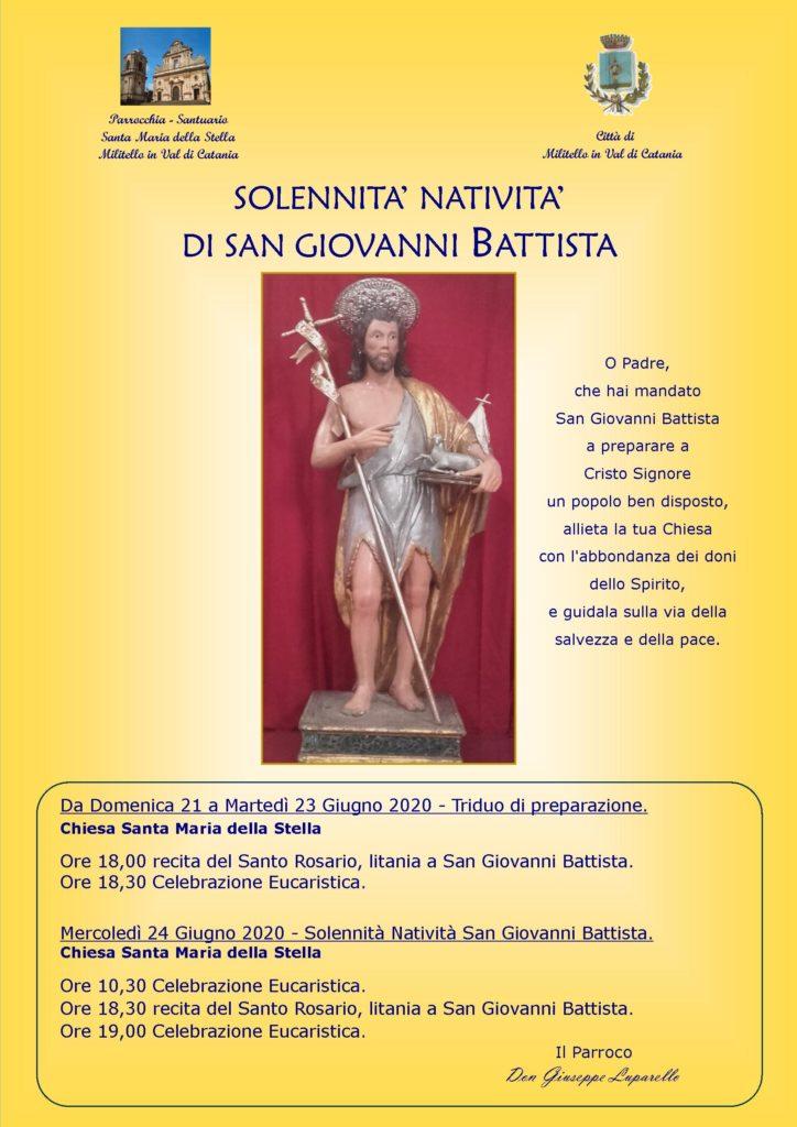 Locandina festa San Giovanni Battista 2020